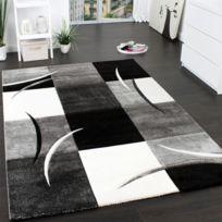 Paco-home - Tapis De Créateur Aux Contours Découpés à Carreaux En Blanc Noir 240X330
