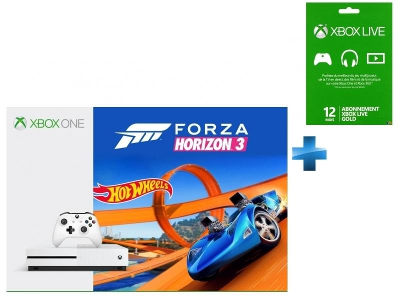 Pack Xbox One S 500Go Forza Horizon 3 + Hot Wheels + XONE CARTE LIVE 12 MOIS GOLD