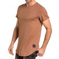 Sixth June - Tshirt homme uni camel oversize long arrondie