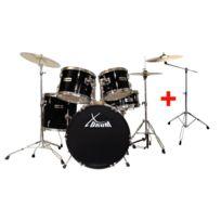"""Xdrum - Semi 20"""" batterie studio noire Set incl. pied perche cymbale + cymbales crash"""