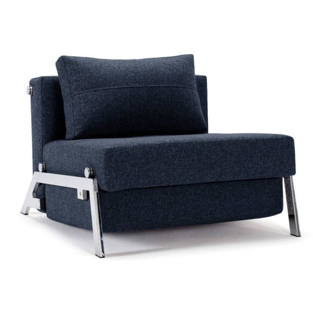 Inside 75 Fauteuil design Sofabed Cubed Chrome Mixed Dance_Blue convertible lit 200 96 cm