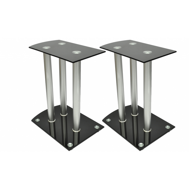 Rocambolesk Superbe Lot de 2 reposes enceintes en aluminium et verre Neuf