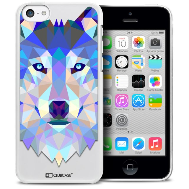 coque crystal iphone 5c extra fine polygon animals loup