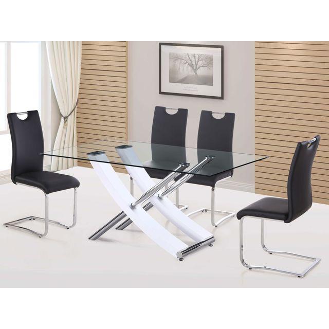 HABITAT ET JARDIN Table repas Diva - 160 x 90 x 76 cm - Blanc laqué