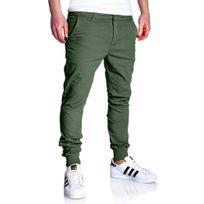 Marque Generique - Jogger chino homme Pantalon 3011 vert