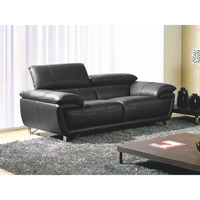 la maison du canap canap 2 places baya cuir sup rieur noir achat vente canap s pas. Black Bedroom Furniture Sets. Home Design Ideas