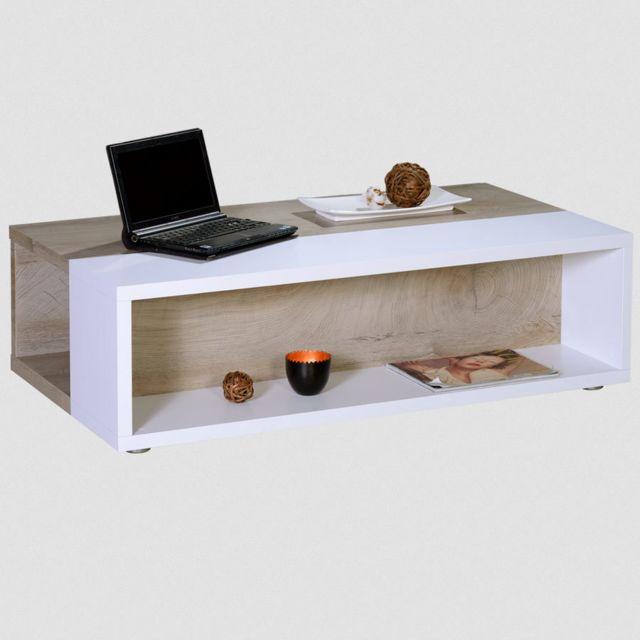 Kasalinea Table de salon couleur chêne et blanc moderne Emilie