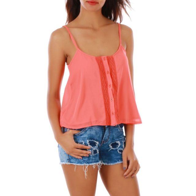 Soldes Lamodeuse - Caraco corail avec détail crochet M L - pas cher Achat    Vente Tee-shirts fd1f04f4188