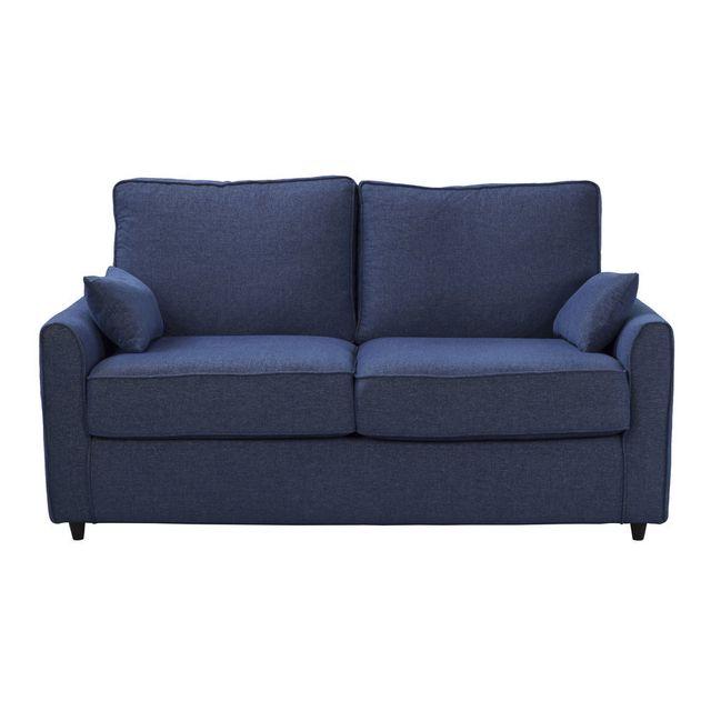 Akhal - Canapé confort plume avec tissu traité non feu Copernic - Bleu - 2 places 0cm x 0cm x 0cm - Nc
