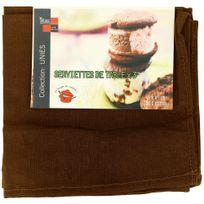 Promobo - Lot 3 Serviettes De Table Luxe 100% Coton Imprimé Uni Wengé