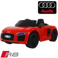 Audi - Voiture électrique enfant 12 volts nouvelle R8 pack luxe rouge à télécommande parentale siège simili cuir audio bluetooth