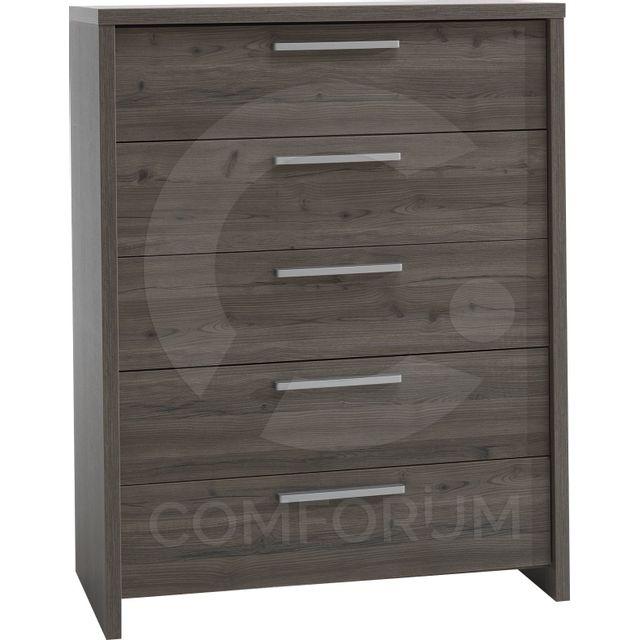 Comforium Commode contemporaine haute avec 5 tiroirs coloris frêne grisé
