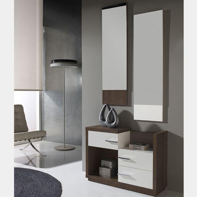 Nouvomeuble Meuble d entrée moderne blanc et couleur chêne Matera 3