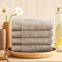 Santens - Maxi drap de bain coton/bambou 650gr/m2 100x150cm Bamboo - Grège