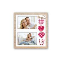 Zep - Love Cadre Photo Multi Vues avec 2 Photos Beige/Rouge/Blanc 10 x 15 cm