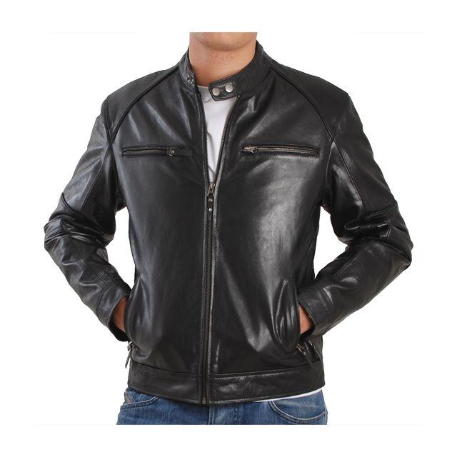 aa0f3e91524b Eagle Square - Blouson Biker cuir noir - pas cher Achat   Vente Blouson  homme - RueDuCommerce