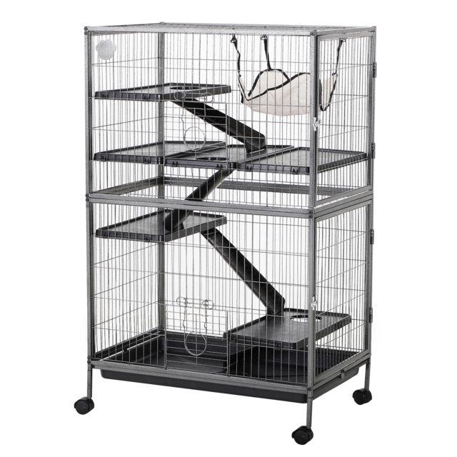 PAWHUT Cage pour hamsters souris petits rongeurs multifonction 4 plateformes 3 rampes 4 portes dim. 80L x 52l x 128H cm métal g