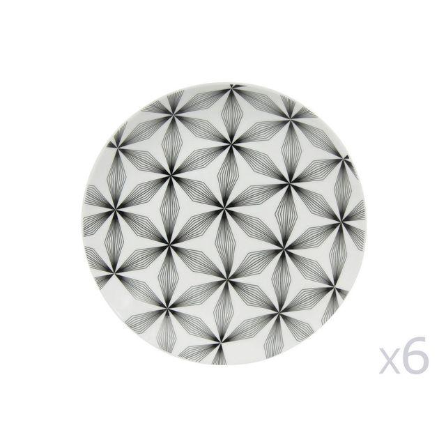 Novastyl Assiette à dessert en porcelaine D.20.5cm motif floral graphique - Lot de 6 pièces Badiane