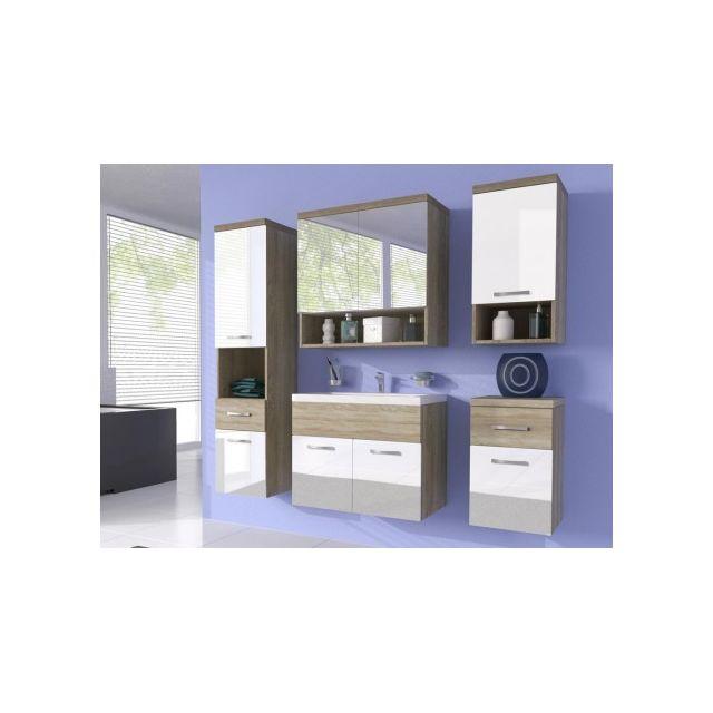SHOWER DESIGN Ensemble LUISA - meubles de salle de bain - laqué blanc et bois