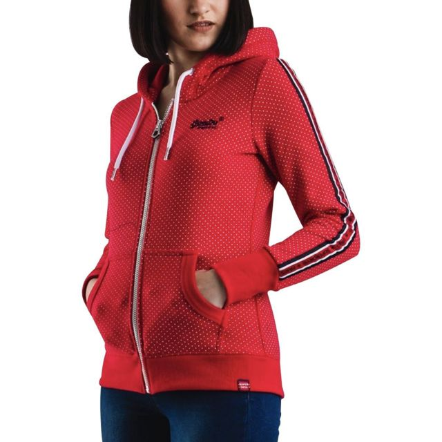 Superdry Sweat zippé capuche à pois Orange Label Aop Rouge