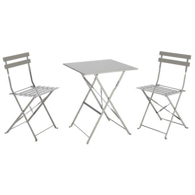 Table Et Chaise Bistrot.Table Bistrot Carree Pliante Taupe 2 Chaise Bistrot Pliante Gris