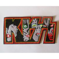 Universel - Patch groupe kiss visage petit 10x5 cm rouge ecusson  thermocollant hard rock 3aabe449f34