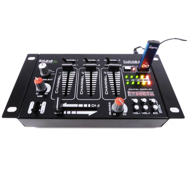 Ibiza Sound Table De Mixage 4 Voies 7 Entrees Usb Dj12usb