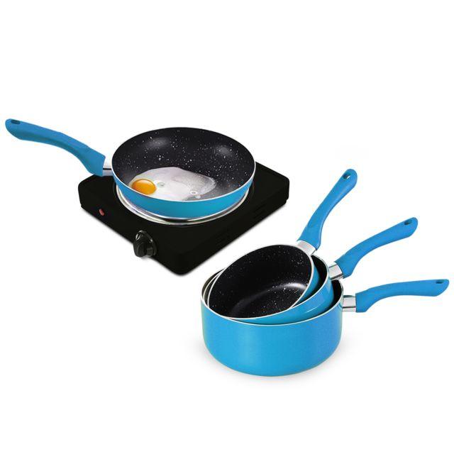 Pem Plaque de cuisson électrique simple 1500W + 3 casseroles + 3 pôeles - Bleu
