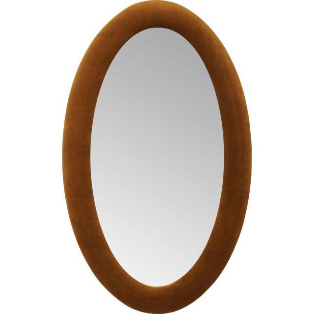 Karedesign Miroir ovale velours marron 150x90cm Kare Design