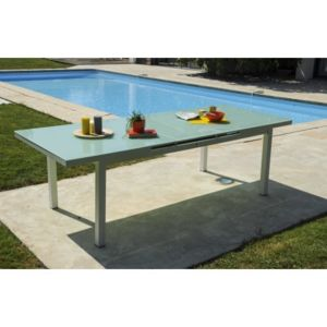 Dcb garden table avec rallonge int gr e en verre et for Table rectangulaire avec rallonge integree