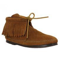 Minnetonka - Classic Fringe Boot velours Femme-38-Marron