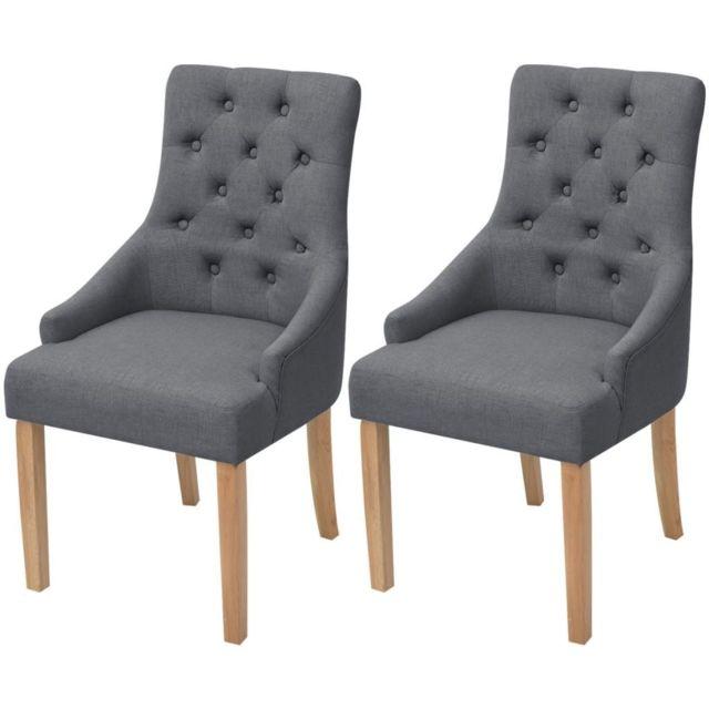Lot de deux chaises de salle à manger bois de chêne tissu gris foncé 1902142