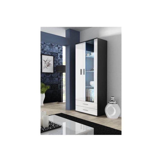 CHLOE DESIGN Meuble vitrine design SANO II - Noir/Blanc