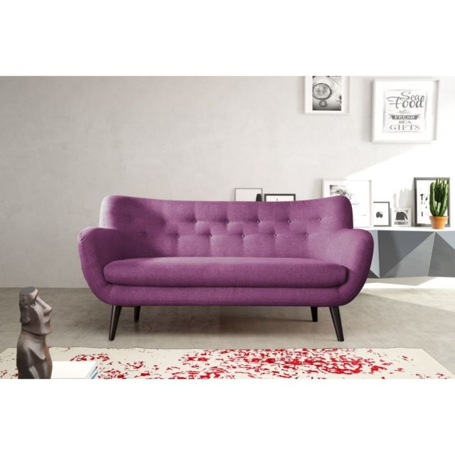Rocambolesk Canapé Adele 3 sawana 70 prune avec pieds noir sofa divan