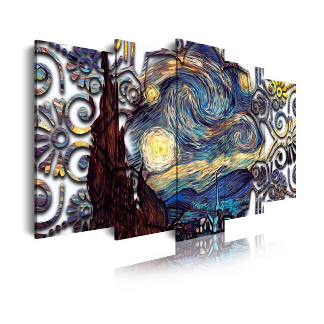 435 Tableau Moderne Sur Toile Monté Sur Cadre En Bois 5 Pièces Xxl Style La Nuit étoilée Van Gogh 200x100cm