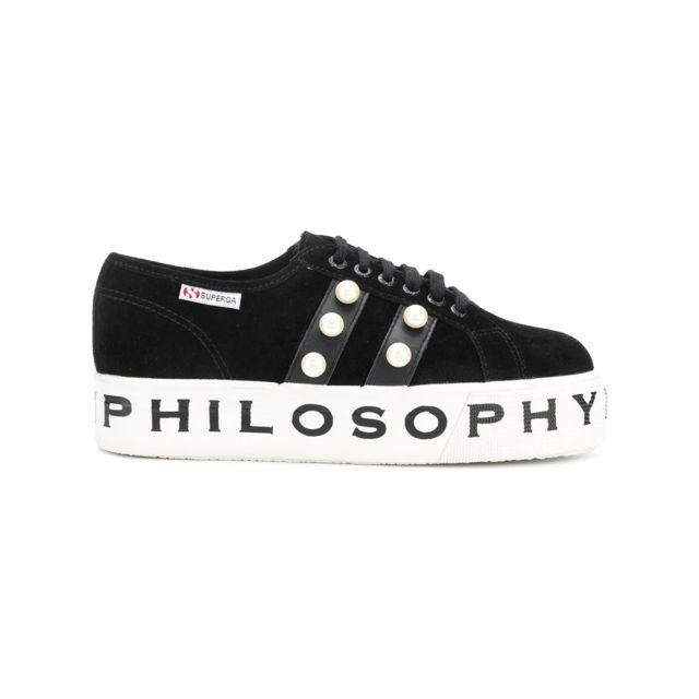 Philosophy Femme J320271740555 Noir Cuir Baskets
