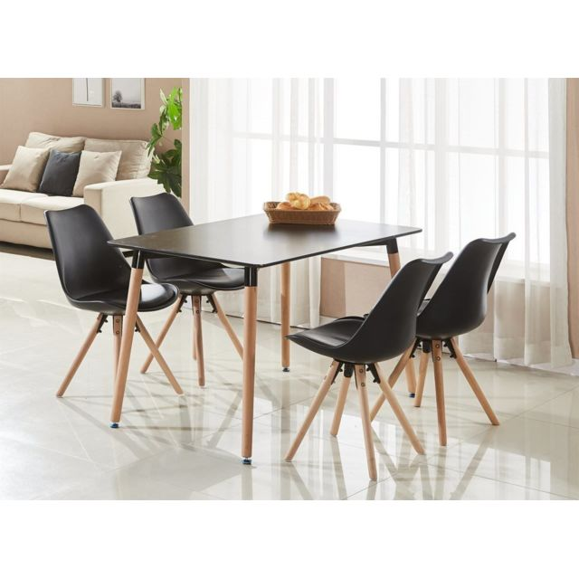 Home Design International   Table Noire + 4 Chaises Scandinaves Noires  Sophie Halo