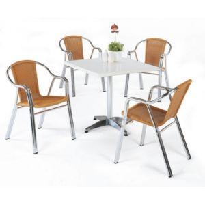 d co maison ensemble table bistrot carr e 70x70 cm 2 fauteuils r sine tress e gales hevea. Black Bedroom Furniture Sets. Home Design Ideas
