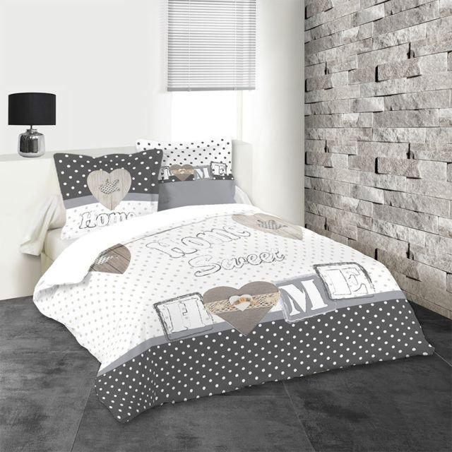 sans marque housse de couette 220 x 240 cm taies huson home sweet home pas cher achat. Black Bedroom Furniture Sets. Home Design Ideas