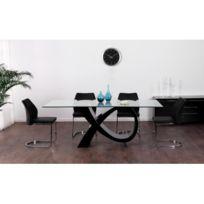 Vente unique table manger etreinte 8 couverts mdf et verre tremp noir 100cm x 77cm x for Carrefour table a manger