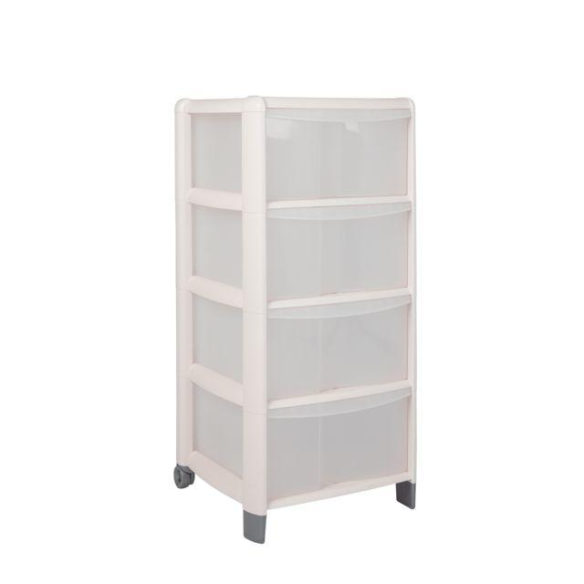 carrefour home tour de rangement 4 tiroirs rose poudr pas cher achat vente bo te de. Black Bedroom Furniture Sets. Home Design Ideas