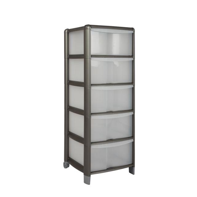 carrefour home tour de rangement 5 tiroirs graphite pas cher achat vente bo te de. Black Bedroom Furniture Sets. Home Design Ideas