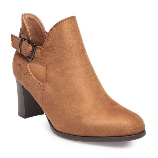 vente la plus chaude vente en ligne nouvelles promotions La Modeuse - Low boots ajourées camel en suédine - pas cher ...