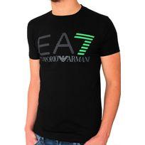 Armani - T-shirt Ea7 Emporio manches courtes. Coupe ajustée, près du corps. Matière confortable avec élasthanne. Col rond. Logo imprimé sur le devant. 95% coton. 5% élasthanne