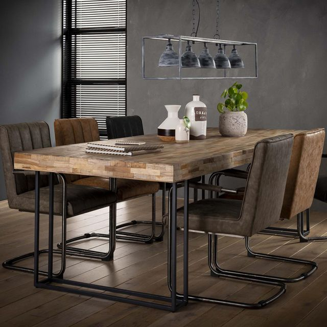 Nouvomeuble Table à manger 240 cm en teck Piano
