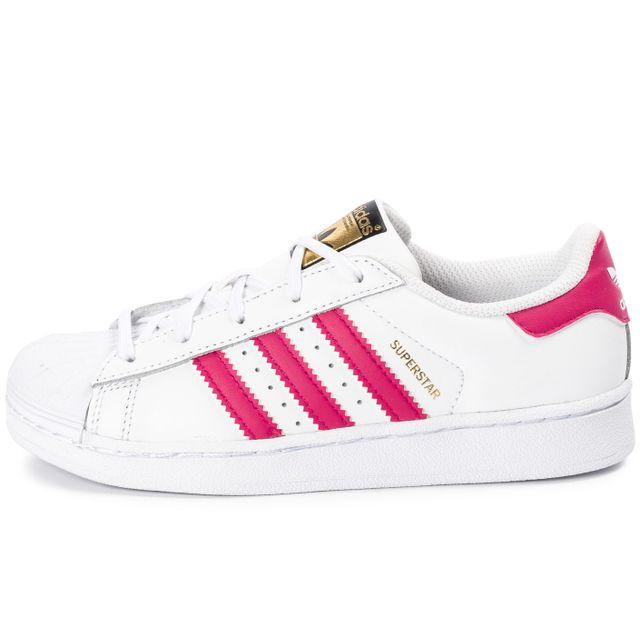 adidas Superstar Foundation Enfant blanche et rose