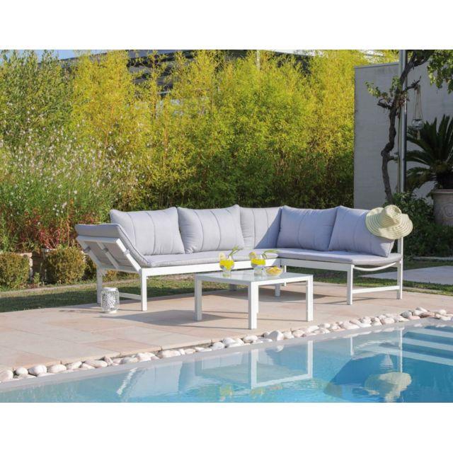 PROLOISIRS Salon de jardin en aluminium avec méridienne Metz