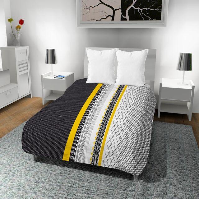 Les Douces Nuits de Maé - Couette imprimée 220x240 cm Pise Blanc 220cm x 240 cm