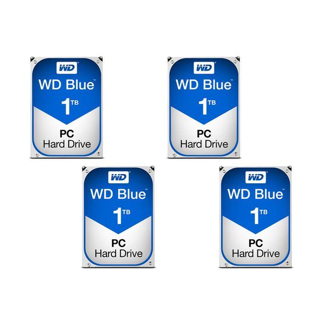 WESTERN DIGITAL WD Blue 4 x 1 To Les disques durs WD Blue figurent aujourd'hui parmi les solutions de stockage ayant le meilleur rapport qualité/prix. Grâce à leur performance remarquable et à leur fiabilité accrue, vous pourrez laisser libre cours à votr