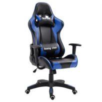 IDIMEX - Chaise de bureau GAMING fauteuil gamer chair style racing racer siège revêtement synthétique noir et bleu